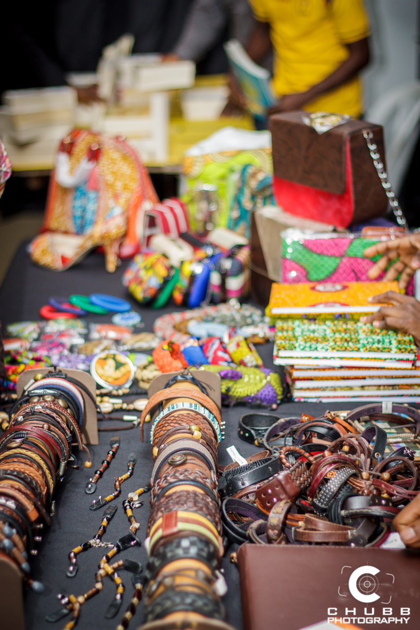 A display of Ankara and African-inspired accessories